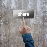 Press hand with jeans jacket on share botton Stock Photography