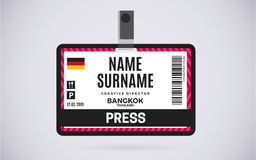 Press id card plastic badge vector design illustration Royalty Free Stock Photo