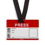 Press ID Card. Red and White Press Pass ID Card  on White Background Stock Images