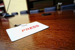 Press identification card royalty free stock photography