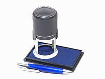 Press and ink pad. Stock Photo