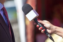 Media interview. Microphone. Royalty Free Stock Photo