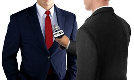 Press Interview with Businessman. Isolated on White Stock Photos