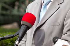 Press interview with businessman or politician Royalty Free Stock Photo