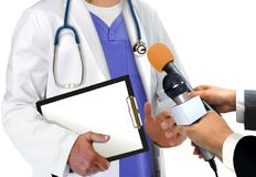 Press Interview with Doctor Royalty Free Stock Images