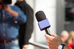 Press interview Royalty Free Stock Photo