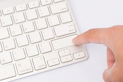 Press keyboard. blank finger Stock Images