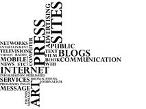 Press and Mass media. Text Stock Photo
