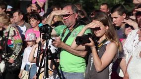Press and media camera ,video photographer on duty stock video footage