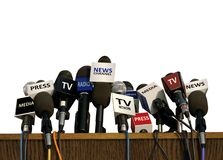 Press and Media Conference. On White Royalty Free Stock Images