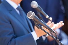News conference. Public speaking. Microphone. Press or news conference. Public relations - PR stock photos