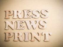 Press News Print Words Quotes Concept stock images
