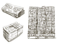 Press. Newspaper stand. Hand drawn. Royalty Free Stock Photos