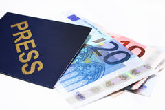 Press pass and Euro bank notes Stock Photography
