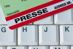 Press pass for journalists Stock Images
