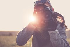 Press Photographer with Camera Stock Image