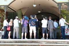 Press, photographers, journalist standing waiting. Royalty Free Stock Images