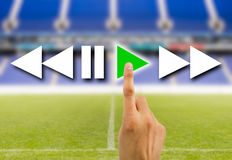 Press play button. Hand pressed to play video the sport play online Stock Photos