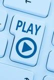 Press Play Button listening music movie internet blue computer w Stock Photo