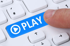 Press Play Button for listening music or movie on internet compu Royalty Free Stock Photos