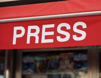 Press poster in English. Press poster in english kiosk, sale of newspapers, magazines royalty free stock photography