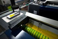 Press printing - Offset machine. Printing technique where the inked image is transferred from a plate to a rubber blanket, then to stock photo