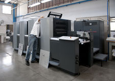 Press printing (printshop) - Offset. Offset press is a printing machine designed to produce fine quality reproductions. Offset printing is a widely used printing stock photography
