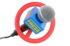 Press prohibition concept. Microphone with forbidden symbol, 3D Royalty Free Stock Photography