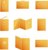 Press related icons. Set of press related icons of typographical production in orange color Stock Photos