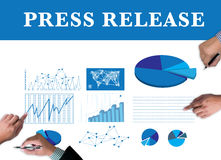 Press Release. Businessman work on white broad, top view Royalty Free Stock Photos