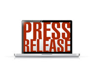 Press release laptop message illustration Royalty Free Stock Photography