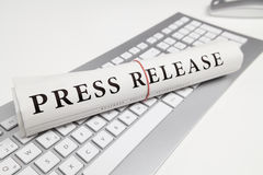 Press release. Written on newspaper Royalty Free Stock Photography