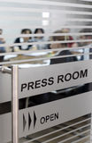Press room - economics journalism stock photography