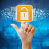 In press security icon on blue background Royalty Free Stock Photography