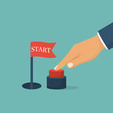 Press start button. Businessman pushing hand, red button. Red flag signaling a successful start. Vector illustration flat design. Isolated on background Stock Photography