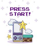 Press start retro videogame. And characters vector illustration graphic design Royalty Free Stock Image