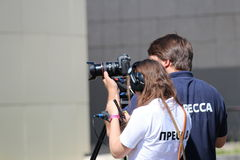 Press_student_ TV Fotografia Stock