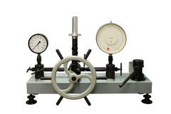 Press to check the calibration of instruments. Stock Images