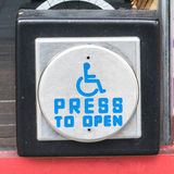 Press to open sign button Royalty Free Stock Image