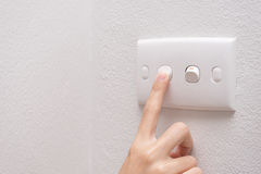 Press turn on/off electrical switch Royalty Free Stock Photos