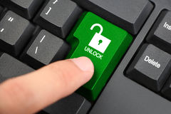 Press Unlock Button Royalty Free Stock Photography