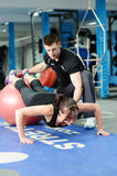 Press ups on gym ball Royalty Free Stock Images