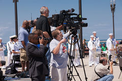 Press at USS Illinois Naming Ceremony Stock Photo