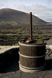 Press viticulture  winery lanzarote spain la geria vine Royalty Free Stock Images