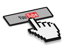 Press YouTube Button. 3D Mouse Hand press a button of YouTube isolated on white background Royalty Free Stock Images