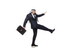 Pressa árabe do homem de negócios isolada no branco Fotografia de Stock Royalty Free