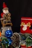 Pressa de Santa Claus à festa em um trenó Foto de Stock