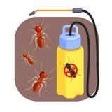 Pressa sprejaren för utrotning av termit och myror Färgrik tecknad filmillustration royaltyfri illustrationer