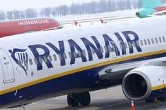Presse-conférence de Ryanair à l'aéroport de Kyiv-Boryspil, Ukraine Image stock