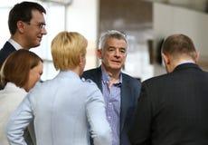 Presse-conférence de Ryanair à l'aéroport de Kyiv-Boryspil, Ukraine Photographie stock